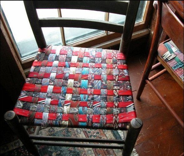 holiday christmas chair covers fishing accessories upcycled necktie, diy tutorial, how-to, necktie crafts, woven seat, craft project | men's ...