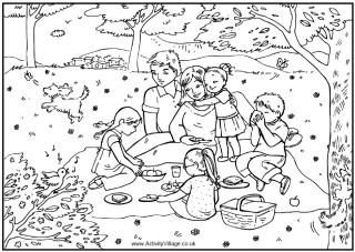 Family picnic coloring page, family eating a picnic in the