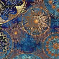classy blue teal turquoise and gold wallpaper design ...