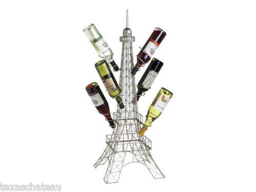 French Wire Metal Wine Bottle Rack Holder Paris Eiffel