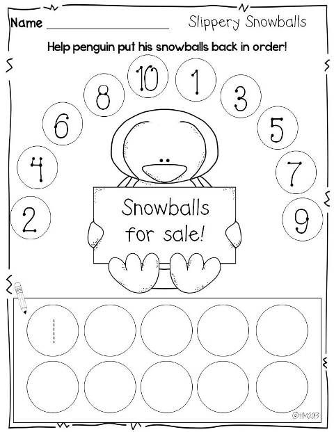 Print and Go {printables for winter}- number orderSchools