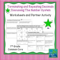 Terminating and Repeating Decimals Worksheets and Partner ...