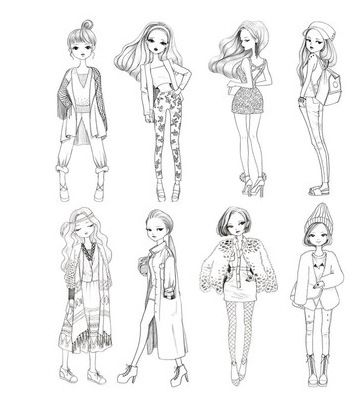 Fashion Drawing Templates Front And Back Sketch Coloring Page