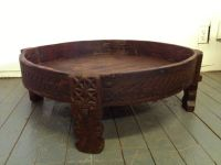 Antique Teak Coffee Table Grinder Grain Chakki 1800s ...