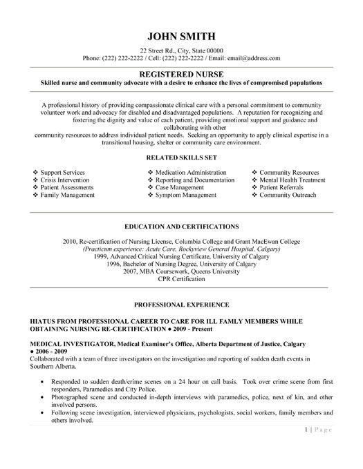 free registered nurse resume templates - Rn Nursing Resume Examples