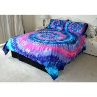 PINK PURPLE BLUE TIE DYE QUEEN QUILT COVER SET 500TC LUX