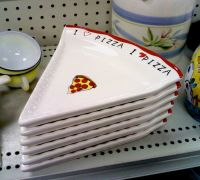 A set of six ceramic pizza-slice plates. | Dishware ...