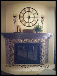 Painted and tiled brick fireplace | Dark, Mantels and Old ...
