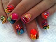 insane colorful nail art design