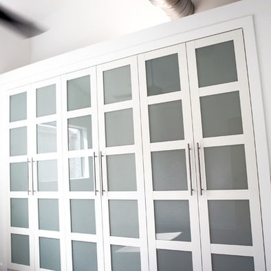 Pax Wardrobe with All Glass Bergsbo doors RIA ROOM layout