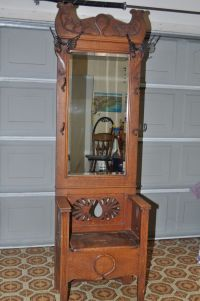Antique Oak Entry Hall Tree With Storage Bench & Beveled