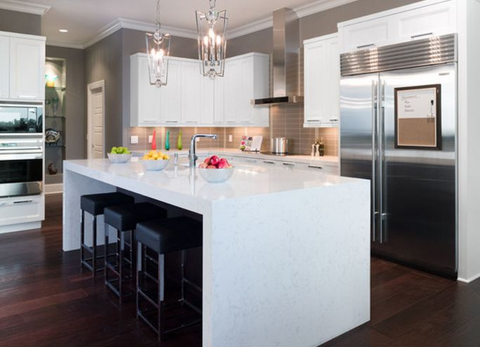 moveable kitchen island how to make cabinet doors a beautiful waterfall edge with cambria's torquay ...