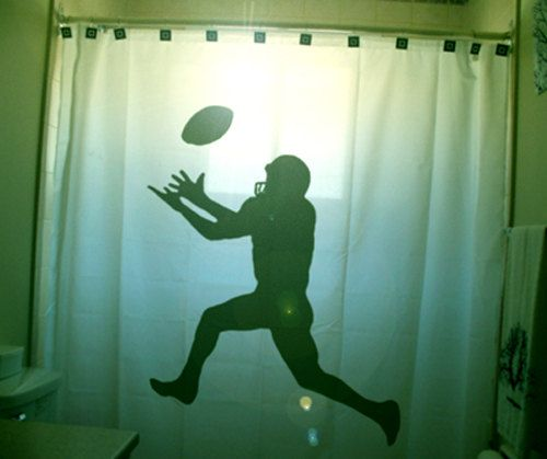 Football Shower Curtain Player Bathroom Decor for Kids  Football Happenings and Rugby