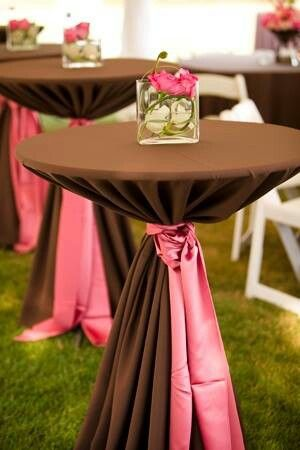 Fantastic Color Palette for Chocolate Cocktail Table with Coral Sash Tie  Cocktail Table