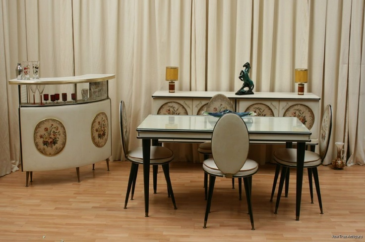 Italian Umberto Mascagni 1950s Vynil 3 Piece Dining Room