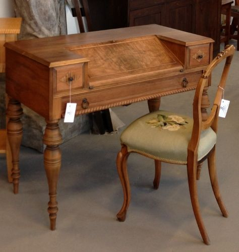 dining room chair cushion stand up trick antique spinet desk hide keyboard, slanted writing surface | pinterest ...