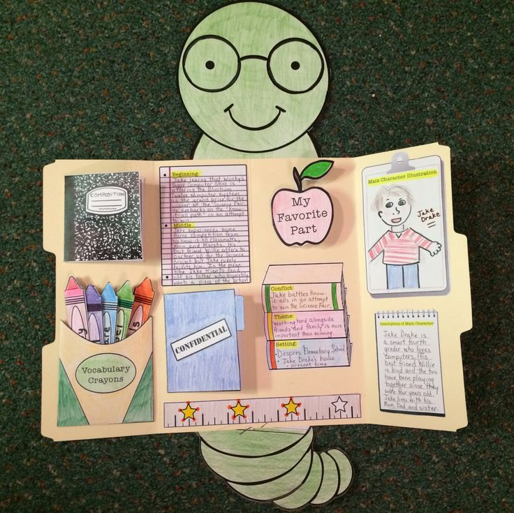 This cutie will make your students want to devour their books!!! Read, color, cut, and create a Book Report LapBook. Students will