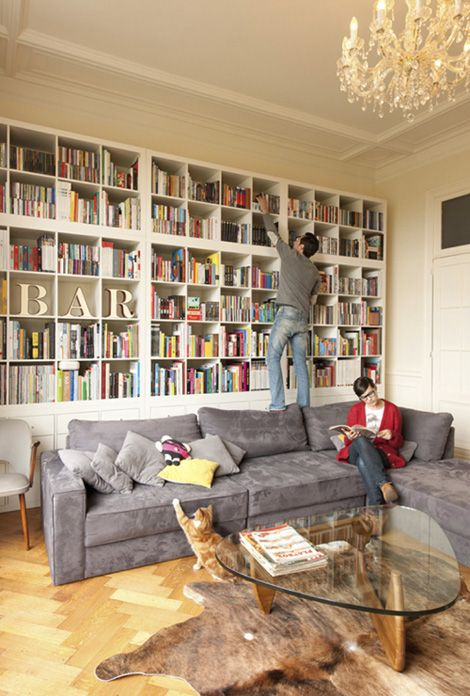 gray couch living room decor colours for painting 25+ best bookcase behind sofa ideas on pinterest | ...
