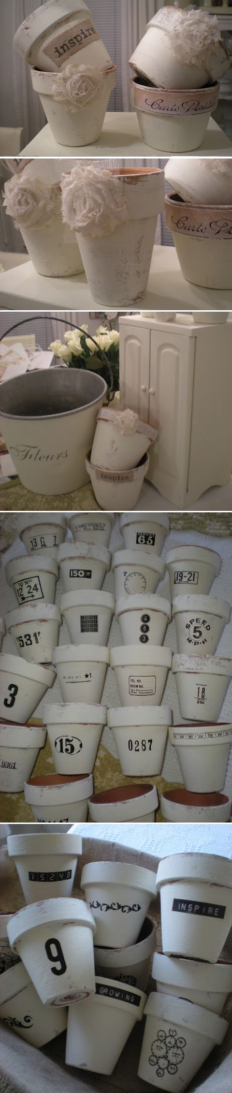 Shabby Chic Flower Pots – painted with white chalk paint and decoupaged with burlap – via A Shabby Moment in Time