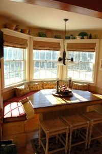 bamboo blinds and shelves above windows   Kitchen Ideas ...