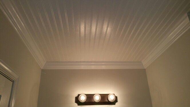 Beadboard Ceiling With Crown Molding Bathroom