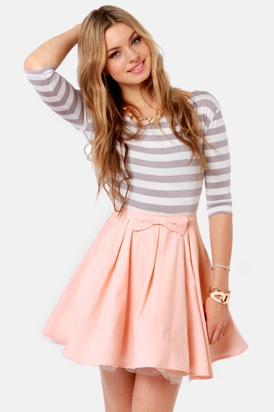 Skirt: The Going Gets Puffed Peach Mini Skirt (box-pleated layers over tulle wit