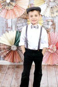 Look NO belt boys bow tie suspender set, grey chevron boys ...