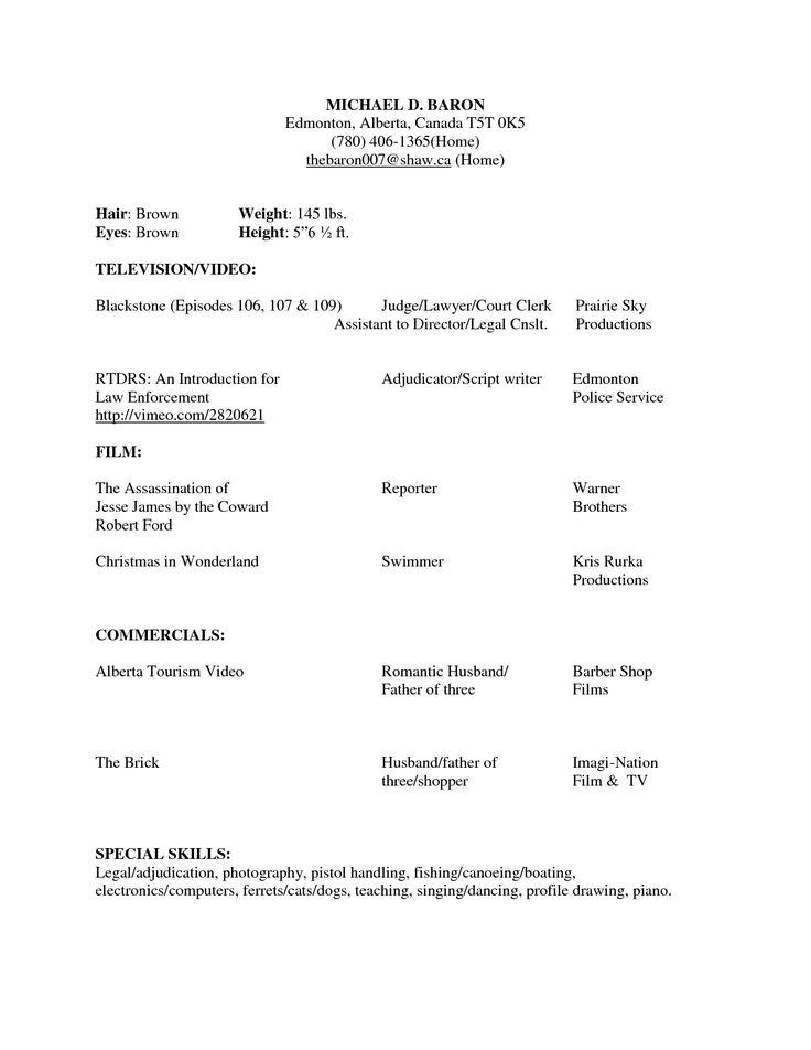 beginner acting resumes
