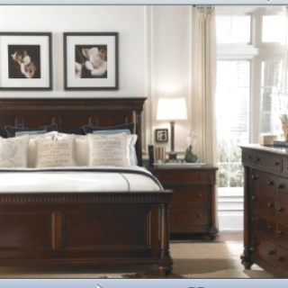For guest room white walls dark furniture using blues and
