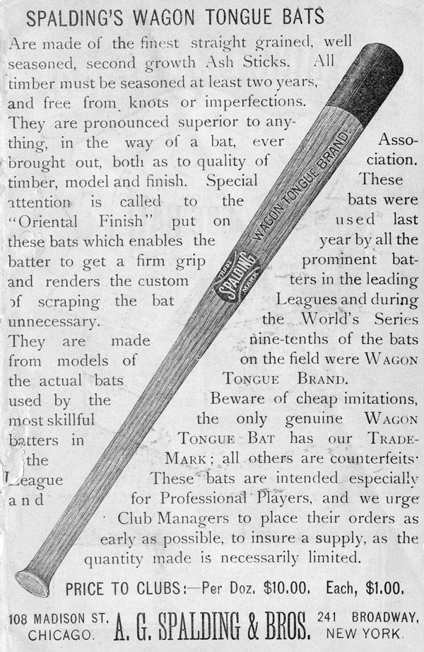 Baseball history photo: Spalding Wagon Tongue Bat