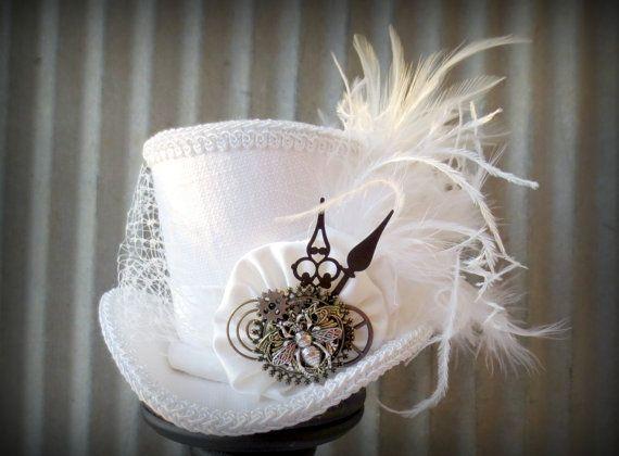 White Linen Queen Bee Steampunk Wedding Alice In