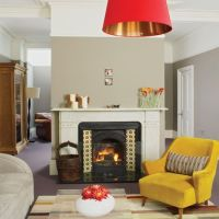 grey walls, mustard chair - mustard and brown concept ...