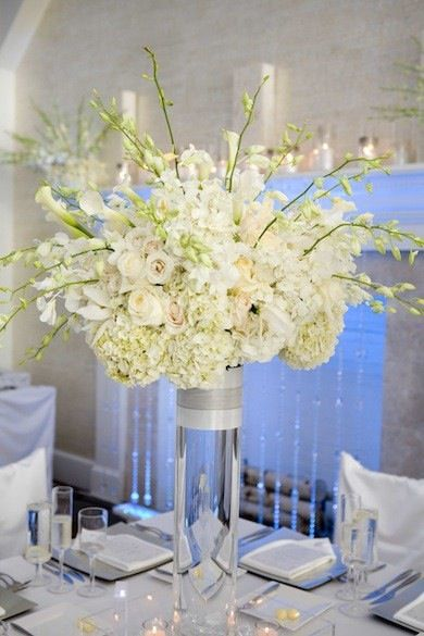 hanging chair big w bar height patio chairs hydrangeas, orchids, calla lilies centerpiece | tall vase arrangement pinterest ...