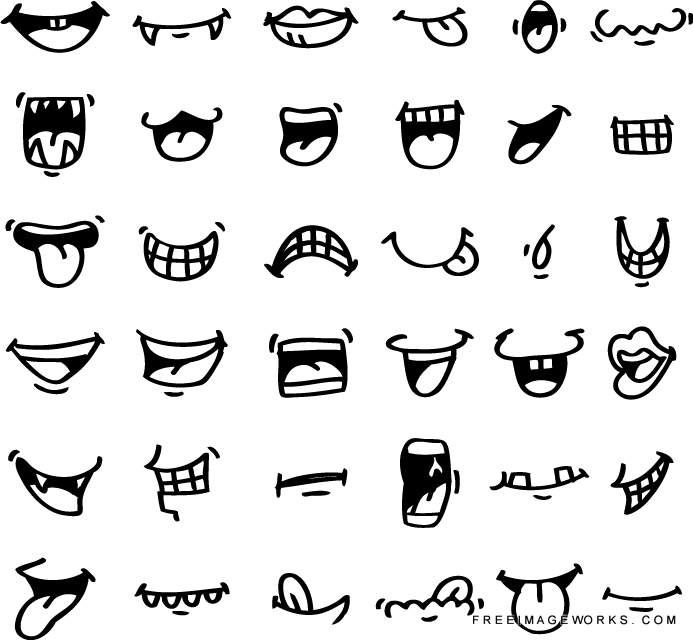 hand draw cartoon mouth icon adorable, angry, caricature
