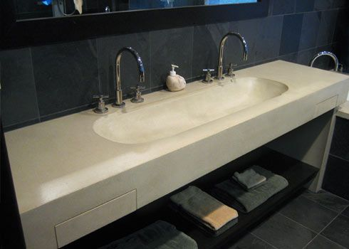 Double 48 Concrete wall mounted sink with 2 integral