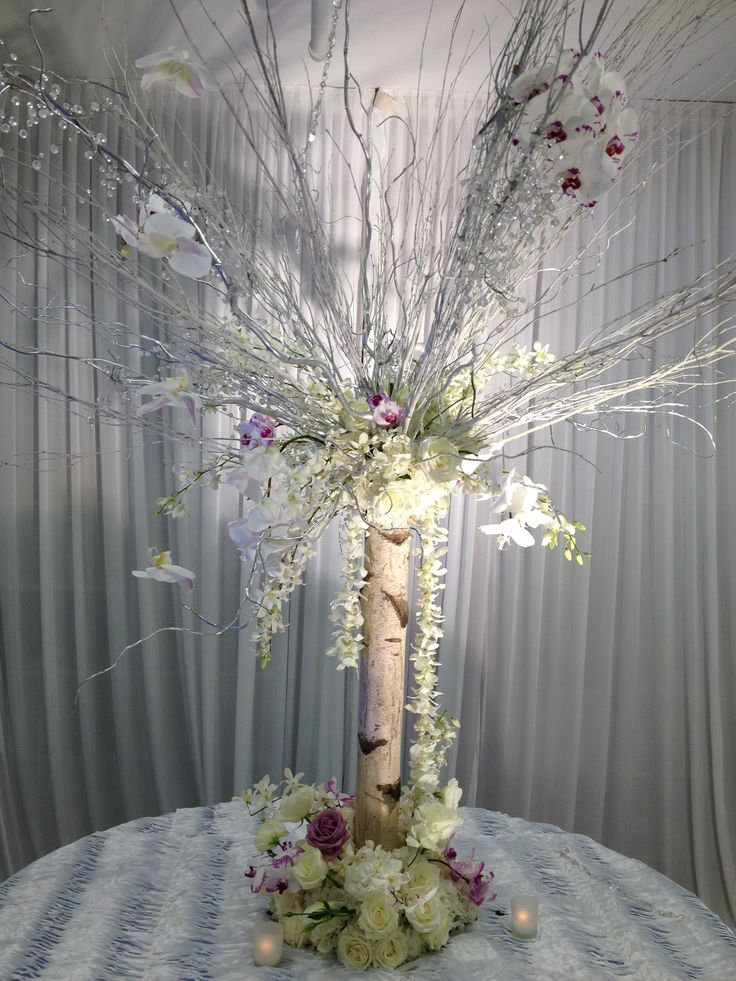 BIRCH TREE TRUNK with WHITE BRANCHES and flowers www