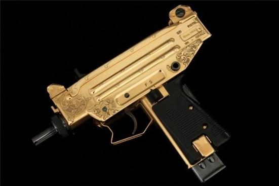 A gold Uzi gun