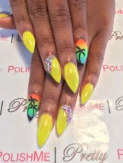 stiletto nails with nail art. colorful