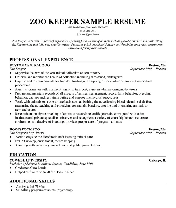 Zoo Keeper Sample Resume A ZooKeepers Life Pinterest