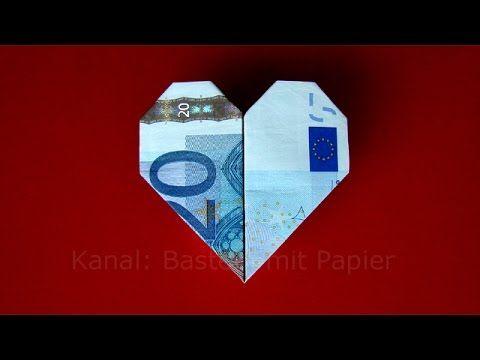 Geldschein falten Herz  Geldgeschenke basteln Hochzeit