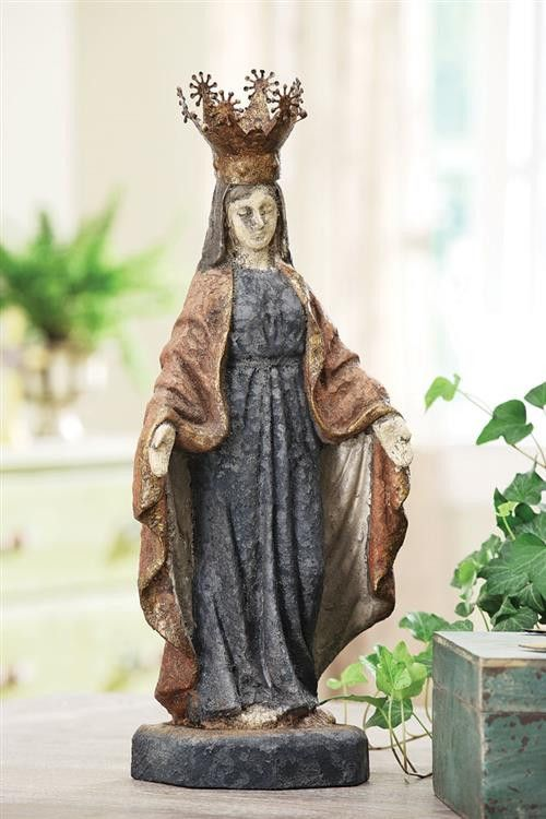 Antique Virgin Mary Statue w Removable Crown  Coastal