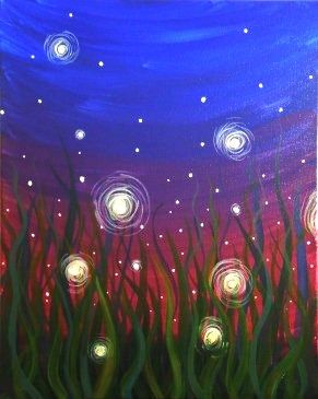EVENING FIREFLIES  Originally created for Paint Nite by Jessica Adamson