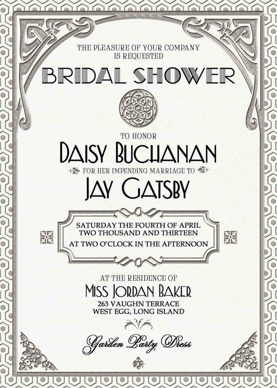 Gatsby Invitation Art Deco Wedding Birthday by
