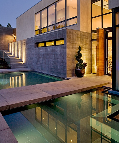 This custom reflecting pool was constructed by the experts at Colorado Pools Unlimited  Modern