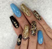 cheetah print blue and black coffin