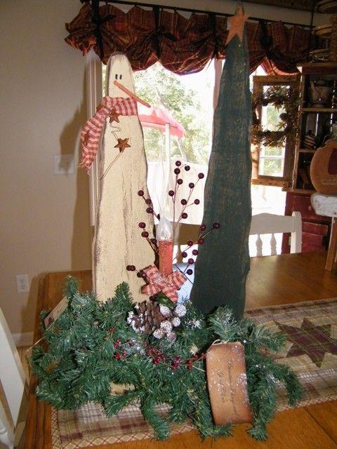 Primitive Wood Patterns Table Top Snowman Centerpiece