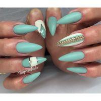 Sea green stiletto nails spring/summer 2016 nail art ...