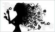 girl flower silhouette illustration