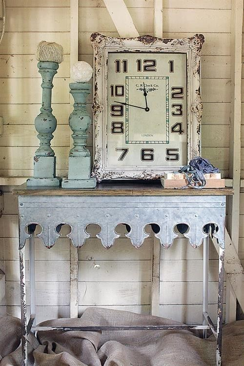 Rustic Farmhouse Galvanized Metal  Wood Console Side