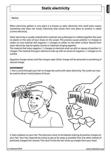 Static Electricity  Natural Science Worksheet (grade 6)  Stem  Science, Technology